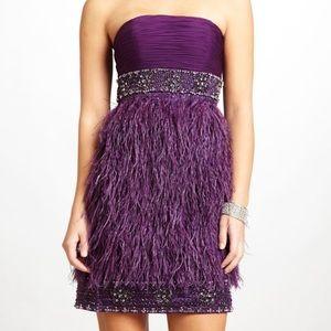 Sue Wong Ostrich Feather Sequin Dress
